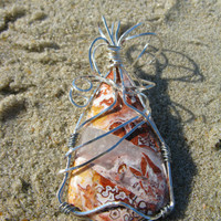 Crazy Lace Agate Wire Wrapped Pendant