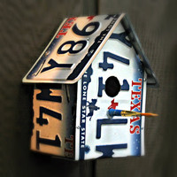 "Upcycled Texas ""Lone Star State"" License Plate Birdhouse"