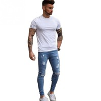 Men Casual Stretch Pencil Pants Fashion Denim Ripped Middle Waist Hole Destroyed Slim Jeans