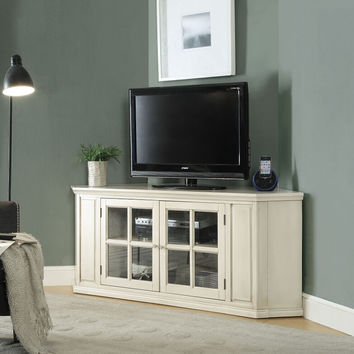 Acme 91365 Malka antique white finish wood corner tv stand glass front doors