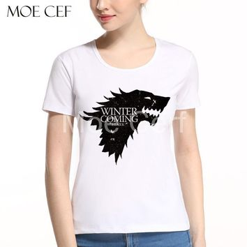 New Women Tops Game of Thrones Shirt Jon Snow Crow Letter T-shirt Women Harajuku Tops Tee T Shirt Women Asian Size L9-N-36