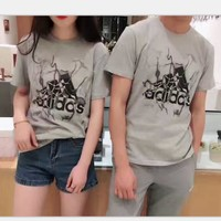 Adidas couple print loose short sleeve top tee T-shirt blouse H-A-XYCL