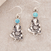 Ganesh Silver Turquoise Earrings