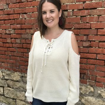Ivory Laced Open Shoulder Sweater - Plus