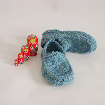 Knit Crochet Slippers Moccasin Blue Donegal Tweed by ShamrockArts