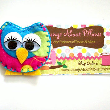Owl Magnet Refrigerator Locker Kitchen Owl Decor Felt Magnet Bold Pink, Turquoise, Lime Green