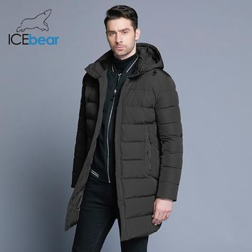 ICEbear Winter Jacket Men Hat Detachable Warm Coat Causal Parkas Cotton Padded Winter Jacket Men Clothing MWD18821D