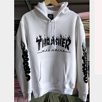 Thrasher letter flame men and women hooded sweater teen sports coat  White