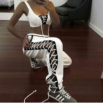 Fashion sexy side lace up type loose pants White (3 color)