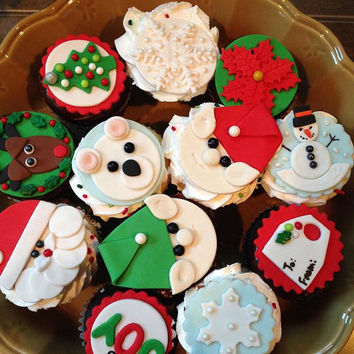 Christmas Fondant Cupcake Collection! 12 different Toppers (one dozen total)