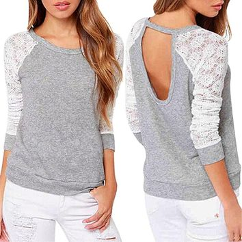 Sexy Long Sleeve Sexy Lace Sweatshirts Backless Embroidery Knitted Tops Pullover Cut Out Hole Women Hoodies Tops WDC1353