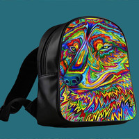 Psychedelic Wolf for Backpack / Custom Bag / School Bag / Children Bag / Custom School Bag *