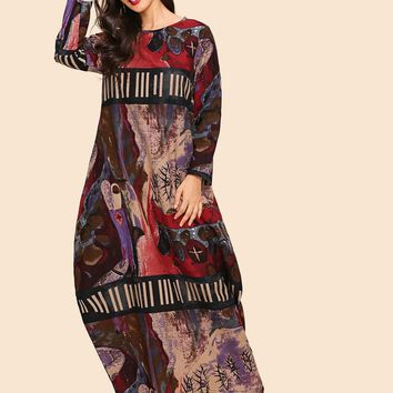 Graphic Print Hidden Pocket Maxi Dress
