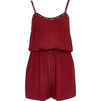 River Island Womens Dark red embellished Romper