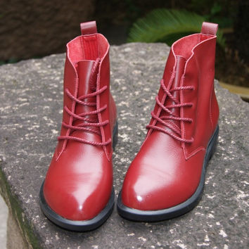 With Heel Shoes Leather Vintage Strong Character England Style Dr Martens Boots [6048880577]