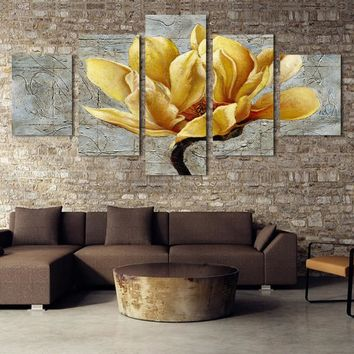 5 piece canvas set print painting gold flower lily rose lotus wall art for livingroom bedroom Christmas decoration canvas niche