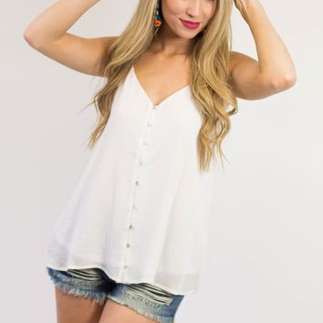Button Up Tank- Ivory