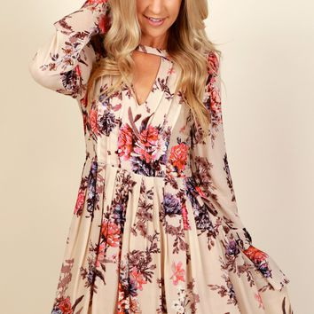 Floral Flow Dress Taupe
