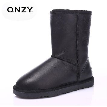QNZY 2017 Ladies Fur integrated middle canister snow boots winter Warm boots Waterproof sheepskin Snow Boots Women mid-calf