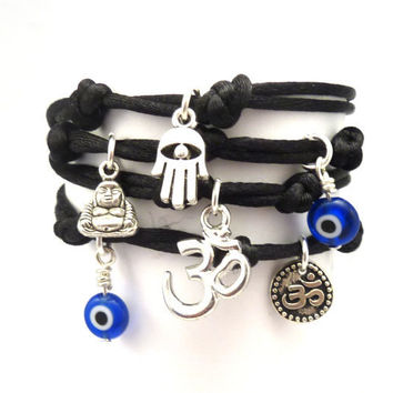 Wrap Bracelet with Hamsa, Evil Eye, Om by charmeddesign1012 on Etsy