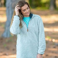 Quarter Zip Sherpa Pullover in Pearl Blue by The Southern Shirt Co.