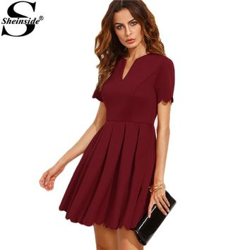 Sheinside Burgundy Split Neck Scalloped Trim Fit And Flare Dress Women Short Sleeve A Line Swing Mini Dress