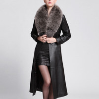 Elegant Long Dust Cost Pu Leather Fox Fur Faux Collar   Sheepskin Feel Hight Quality Women Cost