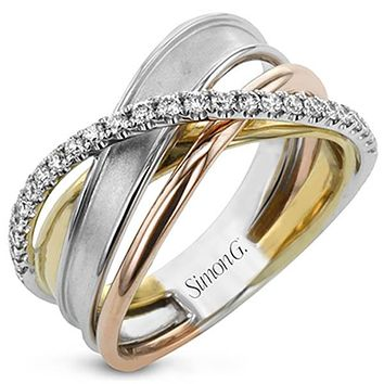 Simon G. 18K Multi-Layer Tri-Color Gold Diamond Ring