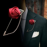 Men's Suit Rose Flower Brooches Pins Canvas Fabric Ribbon Tie 14 Colors Brooch for Women And Men Clothing Dress Accessories