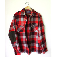 Vtg Pendleton Mens Plaid wool FLANNEL Shirt suede elbow M
