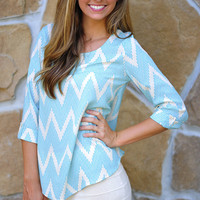 Pixel Perfect Chevron Top: Blue | Hope's