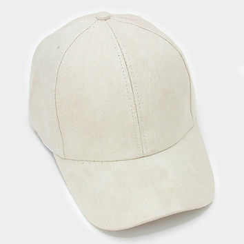 Beige Faux Suede Baseball Cap With Velcro Closure, One Size Fits All, Unisex Gift Idea