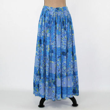Hippie Maxi Skirt Women Medium Boho Skirt Blue Floral Cotton Skirt Long Full Skirt Hippie Clothes Boho Clothing Womens Vintage Clothing
