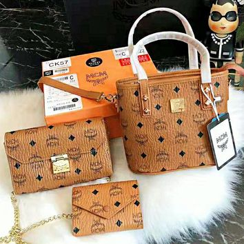MCM Fashionable Women Shopping Bag Leather Handbag Tote Shoulder Bag Purse Set Three Piece
