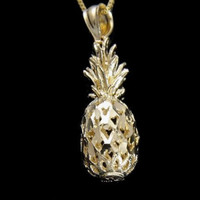 SOLID 14K YELLOW GOLD 3D HAWAIIAN DIAMOND CUT PINEAPPLE CHARM PENDANT 8.2MM