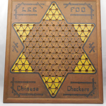 """Chinese Checker Board by Lee Foo with Ante Up Rummy on Other Side 19"""" x 17"""""""