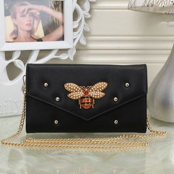 ONETOW Gucci' Women Fashion Bee Rivet Metal Chain Single Shoulder Messenger Bag Small Square Bag