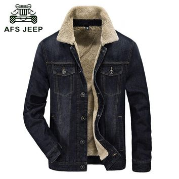 Fur collar Autumn & Winter denim jacket coat men brand clothing high quality thick fleece fashion style jeans jacket men casaco