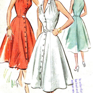 Rockabilly dress pattern 50s Halter style sundress vintage sewing pattern McCalls 8946 UNCUT Sz 12 Bust 32