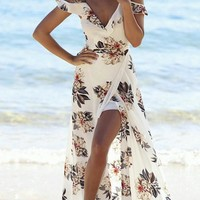 Casual Beach Secrets Floral Print Haltel Off Shoulder Dress