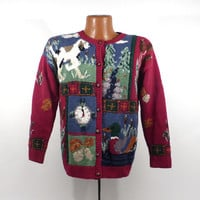 Ugly Christmas Sweater Vintage Cardigan Dogs Holiday Tacky Women's
