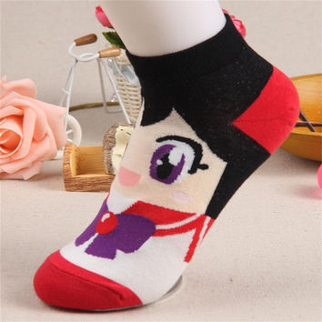 1 Pair Female Cartoon Cotton Blend Ship Boat Spring Autumn Women Girl Cute Kawaii Ankle Short Low Cut Anklets Socks