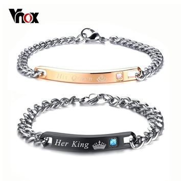 Cool Vnox Crown His Queen Her King Engraved Couple Bracelets For Women Men Stainless Steel Lover Jewelry Valentine's Day GiftAT_93_12