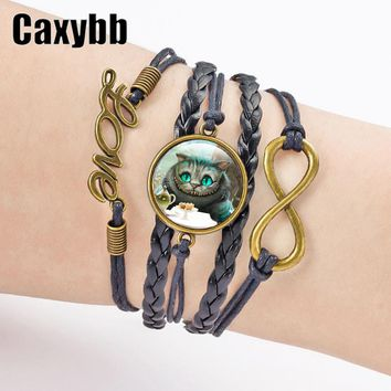 Caxybb Trinket Alice In Wonderland Cheshire Cat bracelet  jewelry Multilayer Weaving rope Bracelet Jewelry bijouterie  B-L158