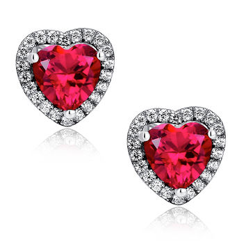 Sterling Silver Valentine Heart W. 4ct Ruby Stud Earrings