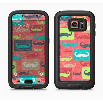 The Vintage Coral and Neon Mustaches Full Body Samsung Galaxy S6 LifeProof Fre Case Skin Kit
