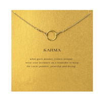 Hot Sale gold color plated the original karma necklace Pendant necklace Clavicle Chains Fashion Statement Necklace Women Jewelry