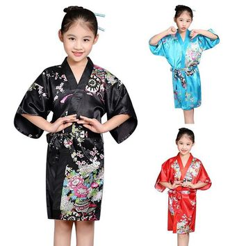 Kids Children Girls Robe Satin Children summer Kimono Bridesmaid Floral Printing Dressing Gown Bath Robe Homewear Sleepwear