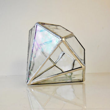 Terrarium, stained glass terrarium, geometric terrarium, diamond shape plant holder