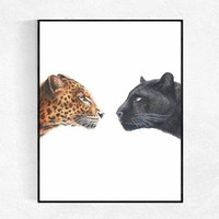 The Wild Leopards Art Print Desk Decoration Office Wall Decor Leopards Animal Illustration Nursery Wall Art Painting Noframed